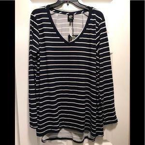 Bobeau V neck stripe jersey knit long sleeve top